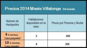 Tarifa 2014 Masia Villalonga