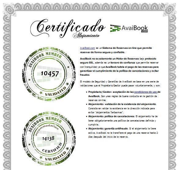 certificado alojamiento