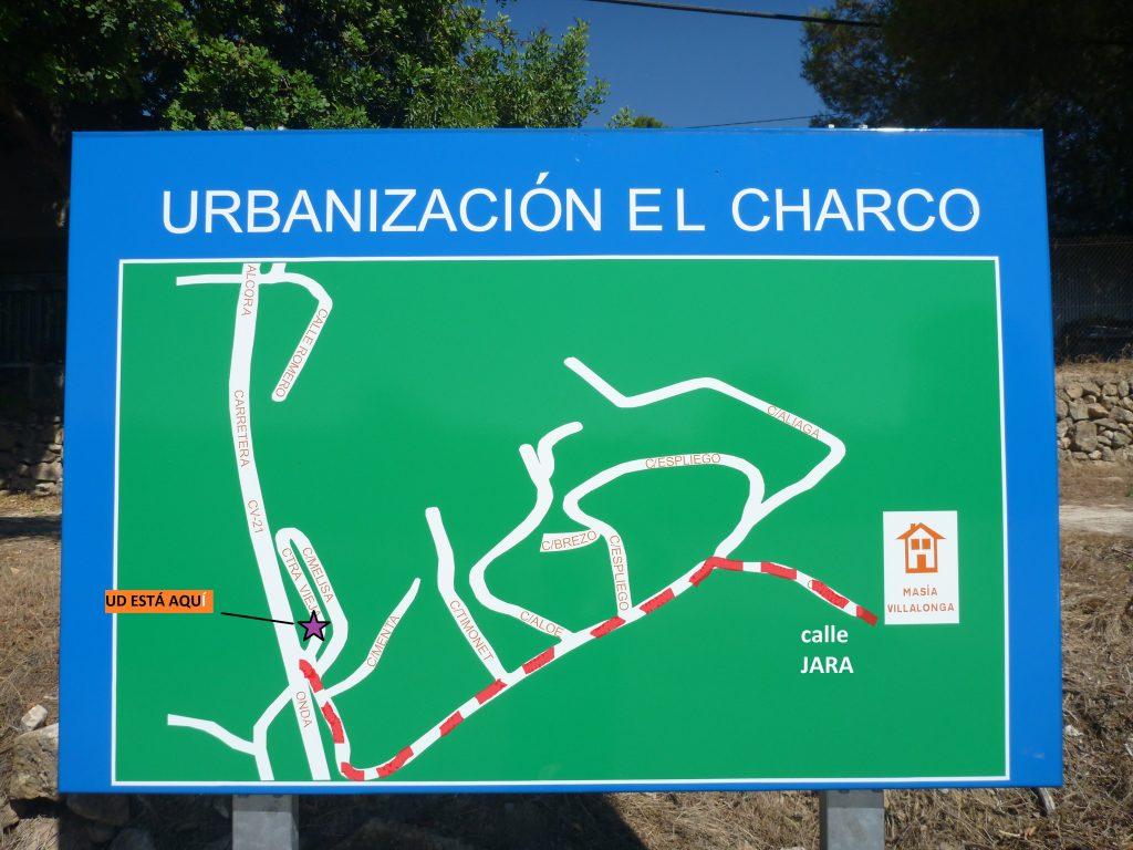 Plano de la urbanización estamos la calle JARA
