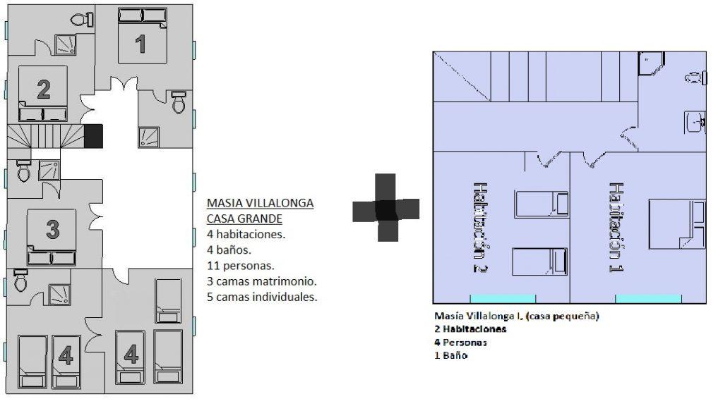plano de casa grande y casa pequeña